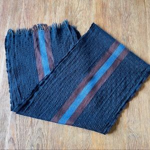 Gucci Wool Silk Long Scarf Blue Brown